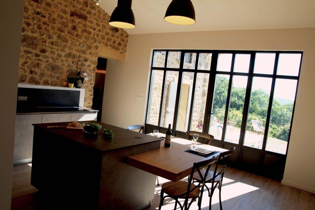 10 Creation Extension Ossature Bois Et Pierre Ancienne Ferme Cuisine Mont Du Lyonnais 3