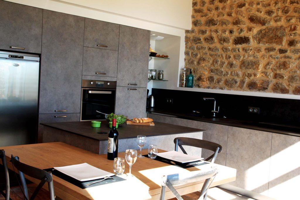 11 Creation Extension Ossature Bois Et Pierre Ancienne Ferme Cuisine Mont Du Lyonnais 4