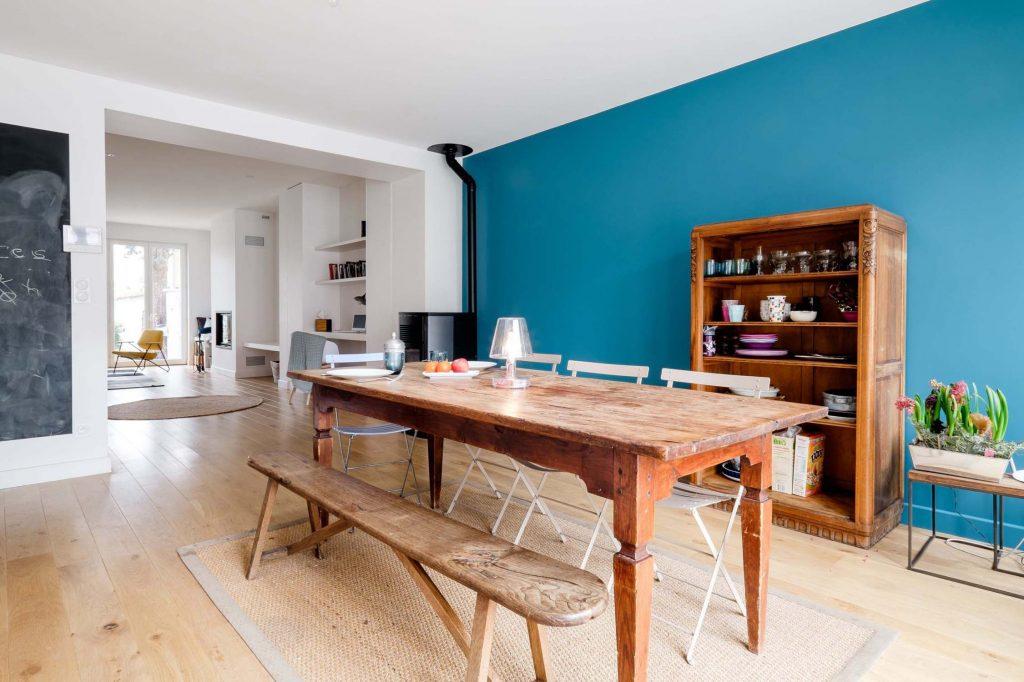 13 Marlene Reynard Maison Montchat Lyon Cuisine Salle A Manger Bureau Poele A Bois Bleu Ressources Meubles Vintage