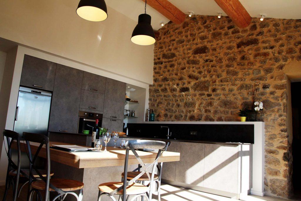 8 Creation Extension Ossature Bois Et Pierre Ancienne Ferme Cuisine Mont Du Lyonnais 2