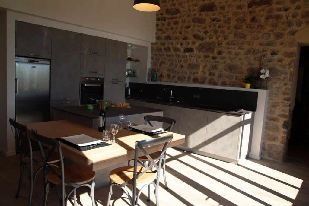 9 Creation Extension Ossature Bois Et Pierre Ancienne Ferme Cuisine Mont Du Lyonnais 1