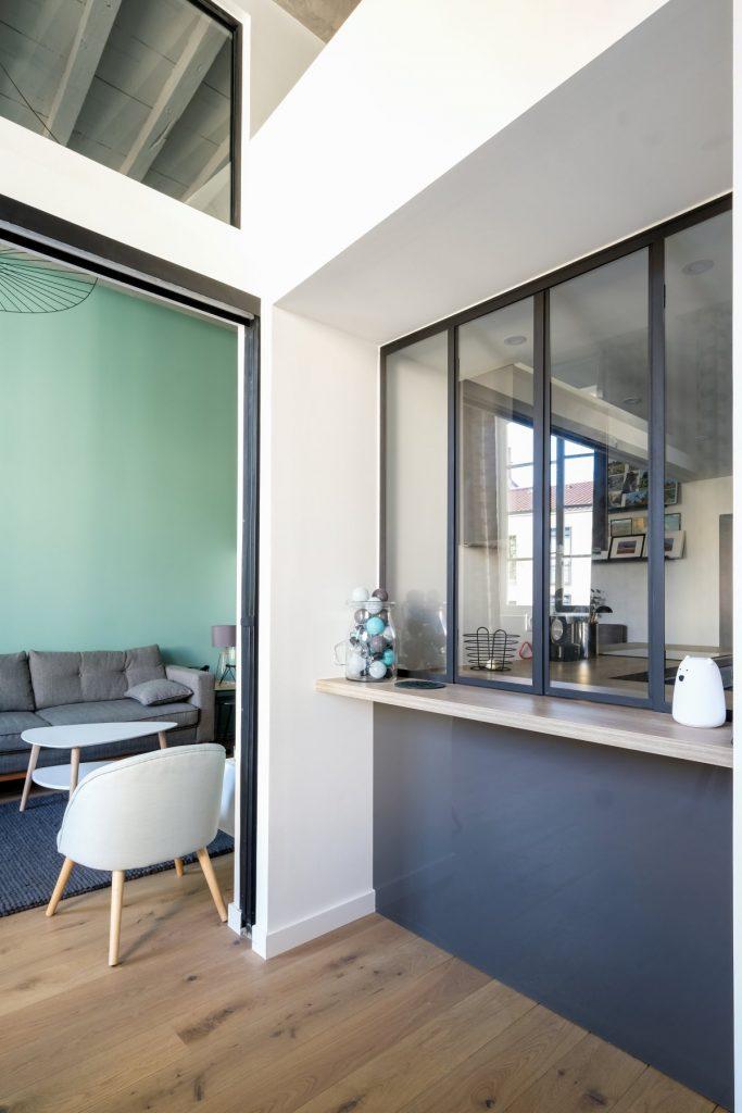 Appartement Canut.croix Rousse. Marlene Reynard.architecture Interieur. Decoration.cuisine.verriere.parquet (10)