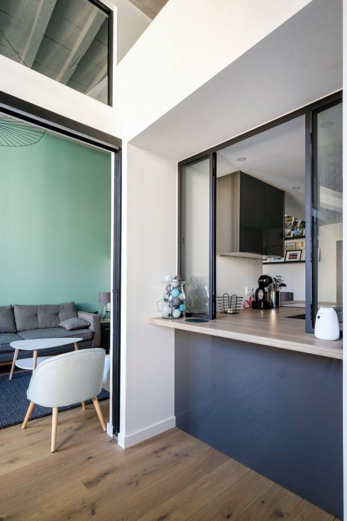 Appartement Canut.croix Rousse. Marlene Reynard.architecture Interieur. Decoration.cuisine.verriere.parquet (11)