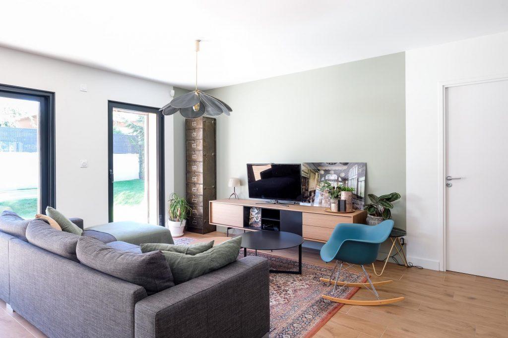 maison sainte foy les lyon. agence Marlène Reynard. renovation. extension.cuisine.séjour.cheminée