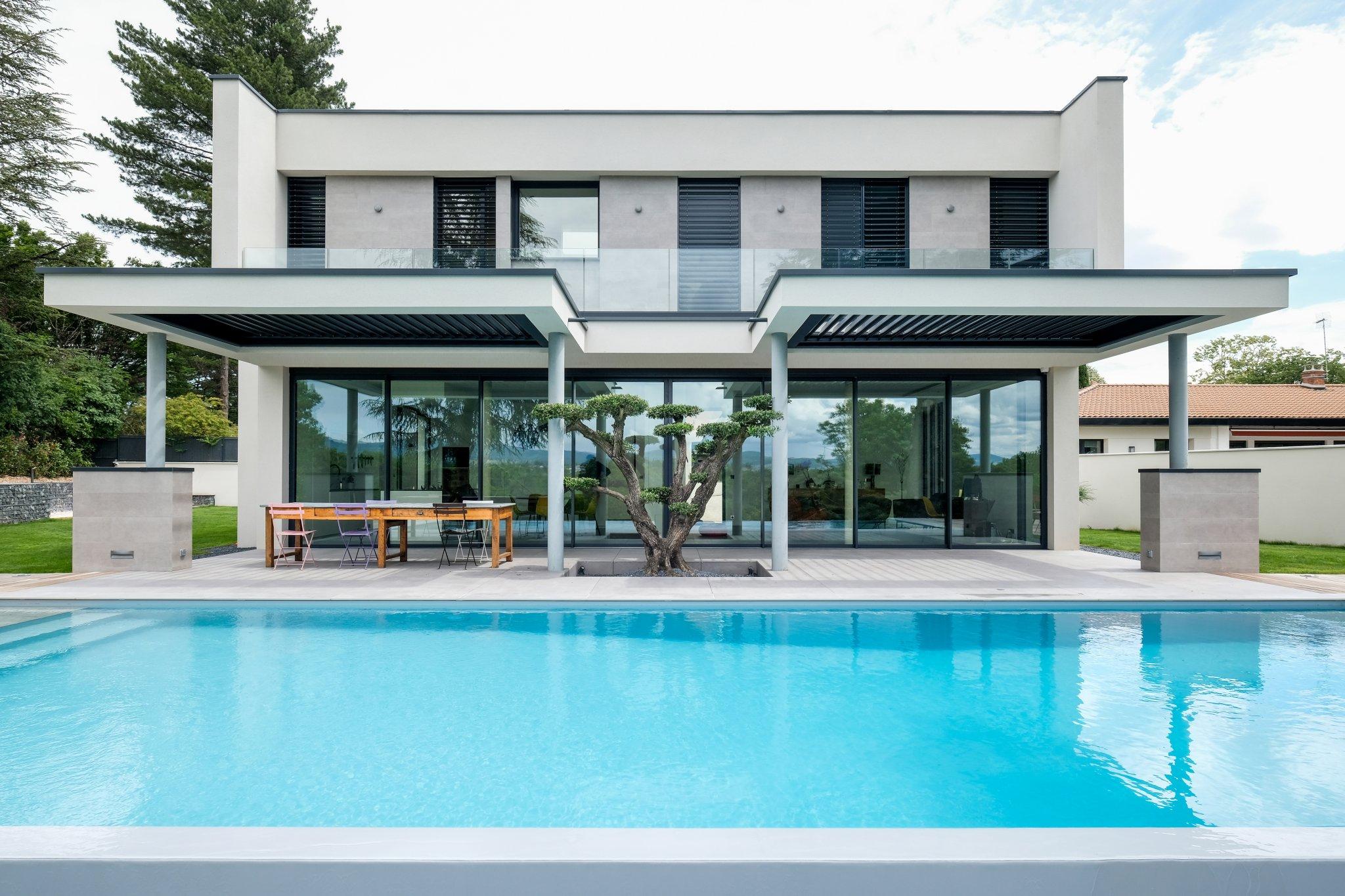 Maison Contemporaine.marlene Reynard.construction.neuve.piscine.toit Terrasse (5)